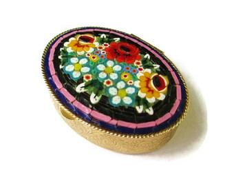 Large Micro Mosaic Box /Black Oval Italian Micromosaic Dresser Box/ Millefiori Trinket Ring Box/Gold Tone Repousse/  Acanthus Leaves Compact