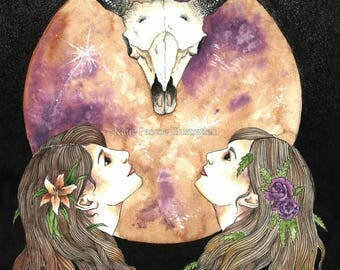 Ostara - illustrated art print, taurus art, pagan art, zodiac art, wiccan art, watercolour art, seemingly by magic