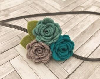 Felt flower headband  - newborn/baby/toddler headband - blue and grey