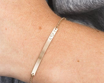 Custom Hand Stamped Bracelet / Personalized Nameplate Bracelet / Initial Bracelet / Custom Roman Numerals  - Layered and Long / LB130_40