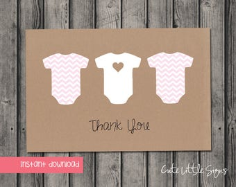 Onesie Pink Chevron Thank You Note Digital Download