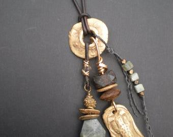 Bronze Labradorite Lizard Protective Amulet Necklace