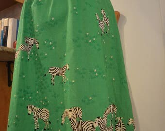 Unique vintage 1960s 1970s Malia Hawaiian green zebras floral cotton dress XS extra small