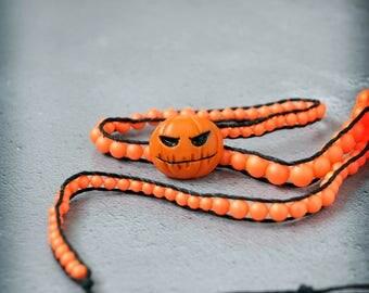 Pumpkin Jack Wrap Bracelet Halloween Neon Orange and Black OOAK Handmade Unisex Jewelry
