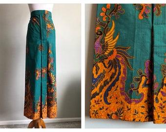 Vintage Batik Print Maxi Skirt Teal Green Thai Singapore Gold Phoenix Bird Ethnic Printed Fabric Long Handmade Asian Dress Skirt Size Large