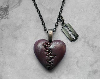 Gothic razor blade & stapled loveheart 'This Love' necklace / Pink + silver clay heart + gunmetal chain / Macabre Horror Punk Goth jewellery