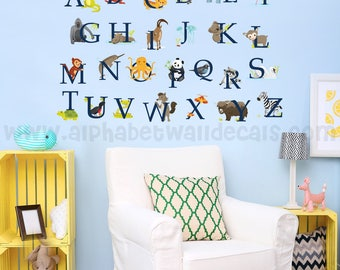 Alphabet Wall Decal - Nursery Wall Decal - Animal Wall Decal - Playroom Wall Decal, Alphabet Decal, Alphabet Nursery Art, Wall Art - 01-0018