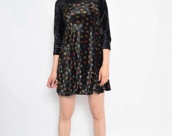 Vintage 90's Floral Black Velvet Mini Dress - Size Small