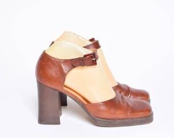 Vintage 90's Brown Chunky High Heel Platform Shoes