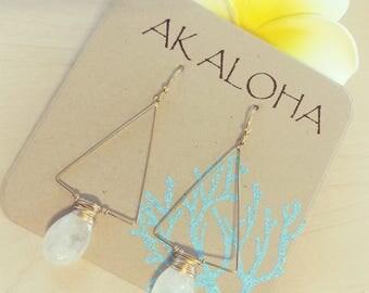 Moonstone Earrings, Gold Gemstone Earrings, Gemstone Earrings,