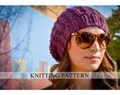 Knit Hat Pattern, Knitting Pattern Slouchy Beret, Knitted Slouchy Hat Pattern, Knit Slouchy Hat Pattern, Women's Hand Knit Hat Pattern