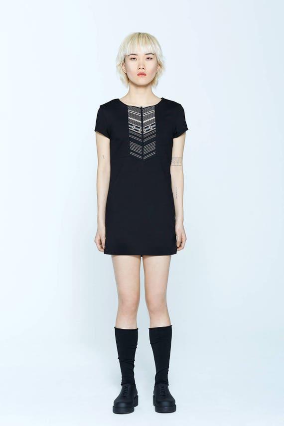 BRANDY - shorts sleeves trapeze tunic, short tailoreddress - black