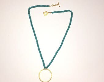 Turquoise Jade Necklace with Hammered Brass Hoop