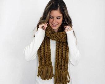 Fringe Scarf Knitted, Chunky Knit Scarves Tassel Snapdragon