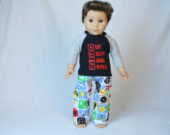 "Eat Sleep Game, Fit American Boy Doll Pajamas,  Travel Pajamas, 18 inch Pajamas, Fits American Girl Doll, 18"" boy doll clothes"