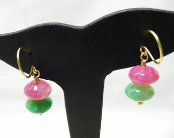 Pink and Green Agate Earrings