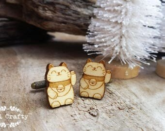 Maneki Neko Fortune Cat wooden Cufflinks Japanese lucky charm Good luck cats Dad Grooms Best man Groomsman Wedding Birthday Gift Cuff links
