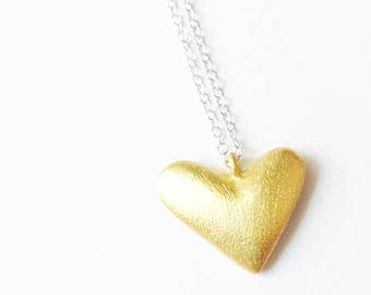 Gold Heart Necklace , Simple delicate necklace, dainty necklace, everyday jewelry, bridesmaid gift