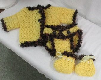 0/6 Mos. Crocheted Cardigan, Diaper Cover & Booties