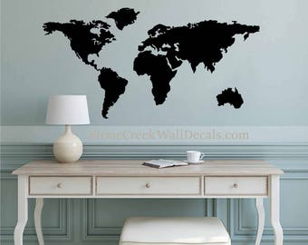 Map wall decal etsy world map wall decal art wall decal home retail or office extra large world map wall sciox Gallery