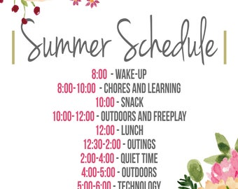 Custom Watercolor Summer Schedule Design Summer Organization