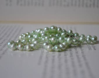 Handknotted Green Freshwater Pearl Necklace - New Old Stock Pearls, Mid Century Style