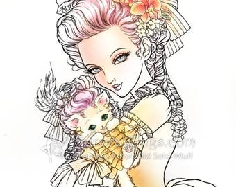 Digital Stamp - Marie Nyantoinette - Marie Antoinette Holding a Cat in a Wig - Fantasy Line Art for Cards & Crafts by Mitzi Sato-Wiuff