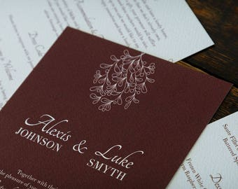 Burgundy Mistletoe Personalised Wedding Invitations