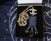 Vintage Gold Plate Chain Necklace with Large Cobalt Blue Glass Pendant embellished with Diamante Logo Charm