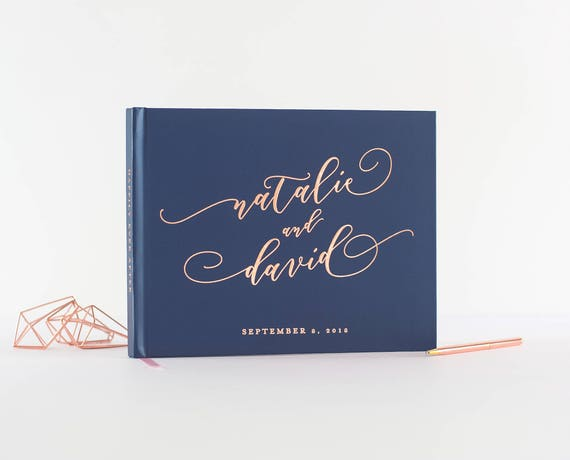 Rose Gold Foil Wedding Guest Book landscape horizontal wedding guestbook wedding instant photo book personalized names hardcover navy rose