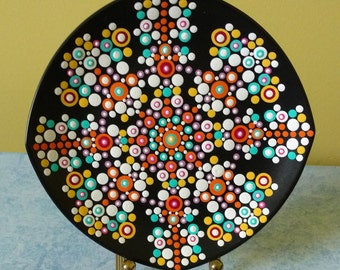 "Abstract Decorative 8"" Plate /  Hand Painted Colourful Plate /  Wall Decor / Hand Painted Ceramic Wall Art / Housewarming Gift"