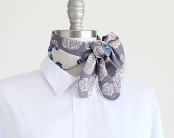Rose print bandana in grey, blue and pastel pink, silky soft scarf, floral neckerchief, summer outdoors accessory, resort travel
