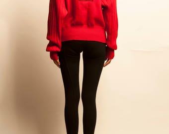 CELINE 1980's red wool pull cardigan