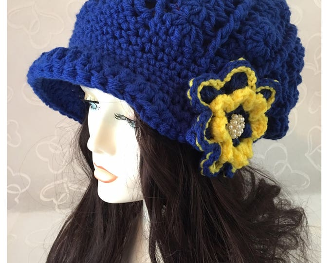 Crocheted Slouchy Hat-Newsboy Cap-Women's Accessories -Blue Hats-Hats-Caps-Easter Hat-Yelliw Flower-Crocheted Flower-Blue and Yellow