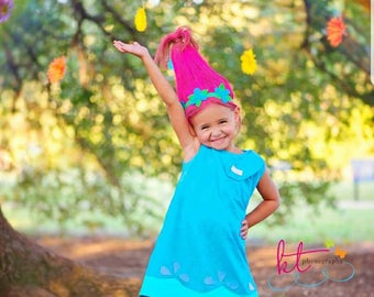 Trolls - Poppy Blue Dress - Halloween Outfit-Girl Dress - Baby Dress  - Princess Poppy - Trolls Costume - trolls birthday outfit