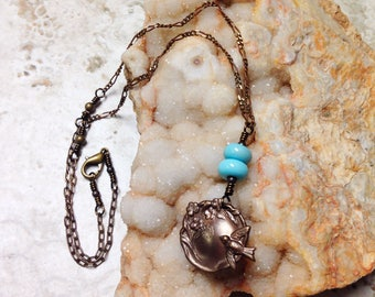 Wire-wrapped Brass Bird Garden Cameo Necklace With Pale Blue Beads