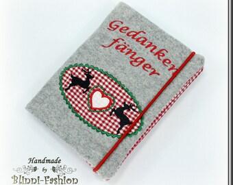 Deer and heart, notebook, diary, light grey, Oktoberfest