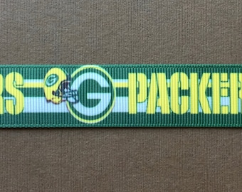 """GREEN BAY PACKERS Striped with Multi-Logos 7/8"""" Grosgrain Ribbon"""