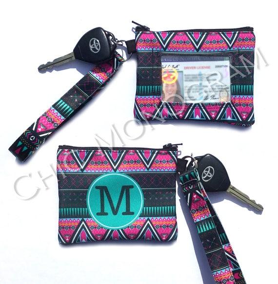 Aztec ID Wallet Monogram Key Chain Tribal Key Fob Coin Purse Key Chain Zipper Wallet Personalized Key Fob Wristlet Aztec Car Accessories