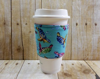 Fabric Coffee Cozy / Colorful Turtles Coffee Cozy / Turtle Coffee Cozy / Coffee Cozy / Tea Cozy