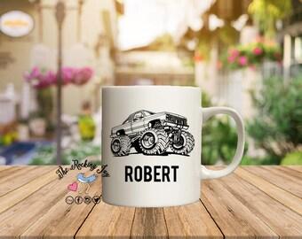 Custom mug, monster truck mug, mud truck, fishing mug, mugs for men, dad gift, fisherman gift