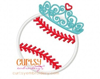 Baseball Embroidery Design, Baseball Applique Design, Baseball Tiara, Softball Applique Design