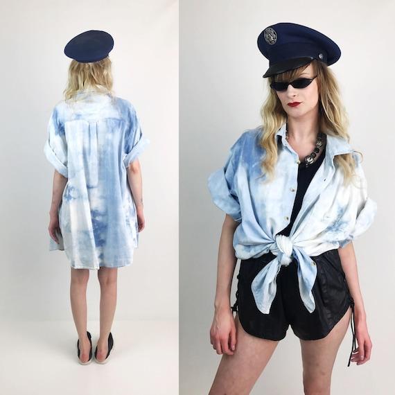 90's Bleached Denim Short Sleeve Slouchy Button Up Mens 2XLT - Blue White Tie Dye Denim Remade Cotton 90's Short Sleeve Button Up Plus Size