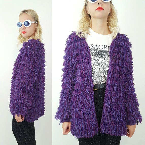 80s 90s Puffy Knit Cardigan Sweater Large - Vintage Loopy Texture Shaggy Knitted Jacket - Purple Heavy Knitted Kitschy Sweater Cute Girly