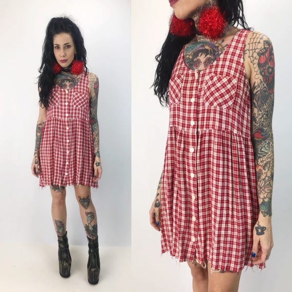 90's Button Front Red & White Plaid Sundress With Pockets - Small Vintage Frayed Hem Sleeveless Plaid Summer Mini Dress - Cute Picnic Print