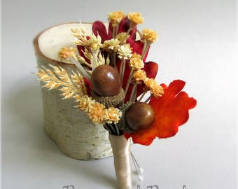 """Set of Acorn and Silk Oak Leaf Boutonnieres, Orange, Brown, Red, and Tan, Fall Wedding Boutonnieres, Groom, Groomsmen, """"Strength"""""""