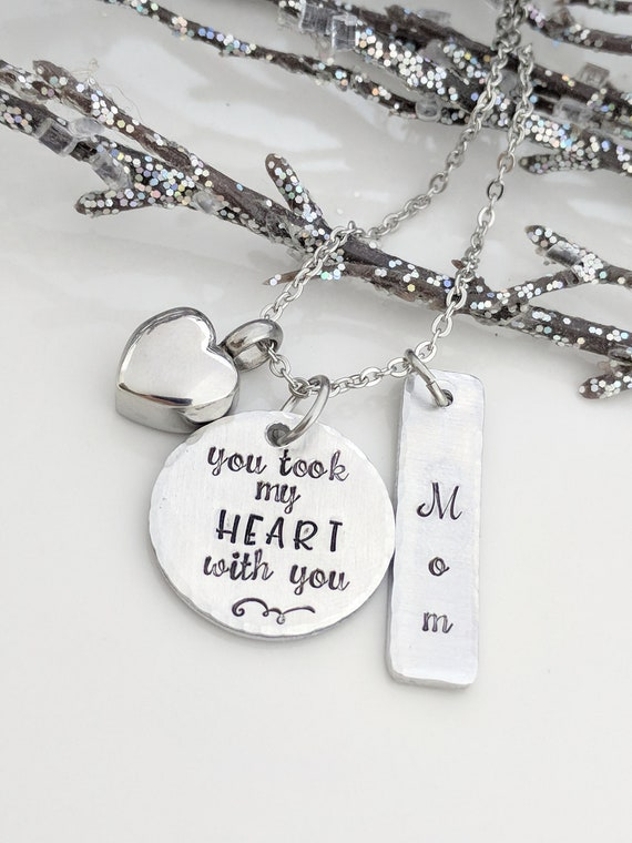 You Took My Heart With You-Urn Necklace-Cremation Jewelry-Ashes Necklace-Ashes Keepsake-Urn Jewelry-Memorial Jewelry-Loss of Mom-Loss of Dad