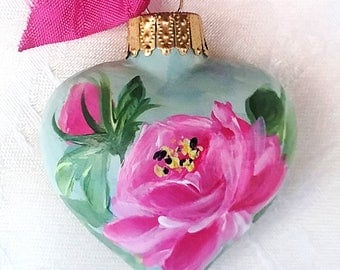 Pink Rose Heart Ornament ~ Grandmother Gift ~ Handpainted Roses ~ Shabby Rose Ornament ~ Cottage Styles