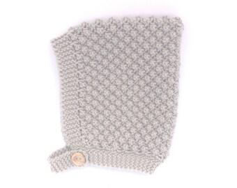 Knitted Baby Hat, Bobble Knit Pixie Hat Bonnet, Gender Neutral Baby Bonnet, Beige Merino Wool Infant Cap, Hand Knit Bonnet, New Baby Gift