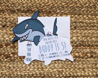 shark birthday invitation, shark birthday, shark party, shark decor, shark party invitation, shark invitation, shark invites, shark infested